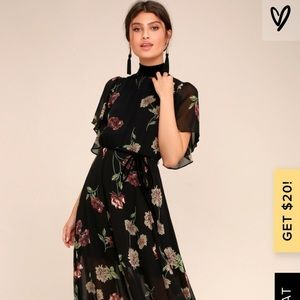 The every little thing black floral maxi